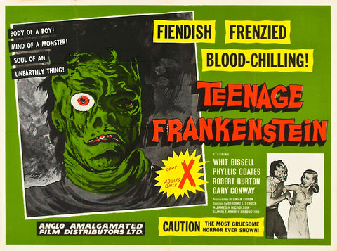 I Was a Teenage Frankenstein - 50s B-Movie Classic - A4 Vintage Print C