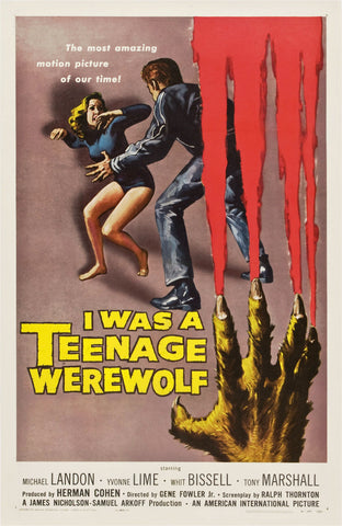 I Was a Teenage Werewolf - 50s B-Movie Classic - A4 Vintage Print