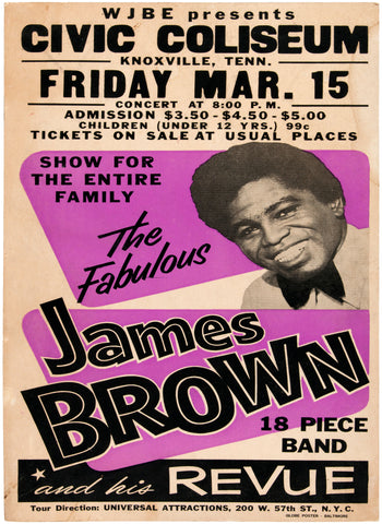 James Brown - Civic Coliseum Knoxville - A4 Music Mini Print