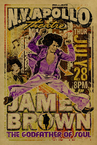 James Brown - The Godfather of Soul - NY Apollo - A4 Music Mini Print