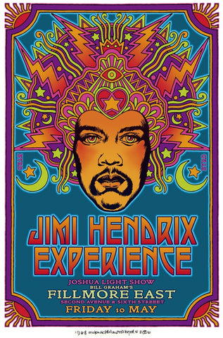 Jimi Hendrix - Fillmore East - A4 Music Mini Print