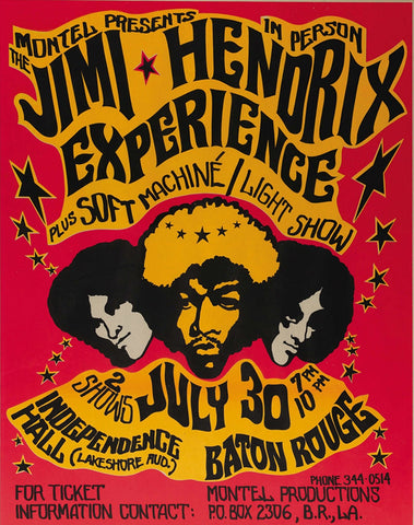 Jimi Hendrix - Independence Hall - Baton Rouge - A4 Music Mini Print