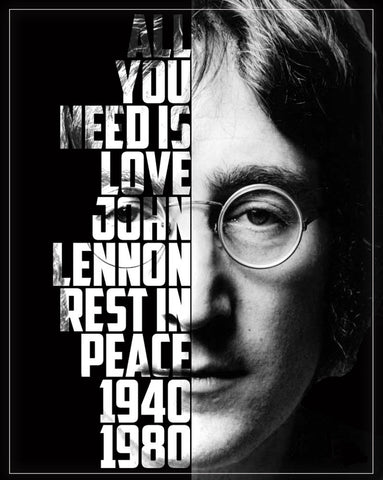 John Lennon - The Beatles - Rest in Peace - A4 Music Mini Print