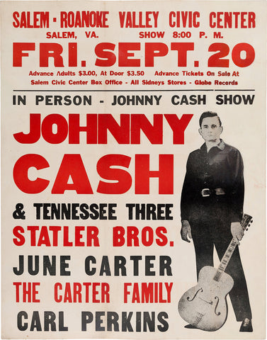 Johnny Cash - Roanoke Valley Civic Center - A4 Music Mini Print
