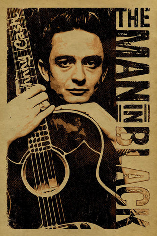 Johnny Cash - The Man in Black - A4 Music Mini Print