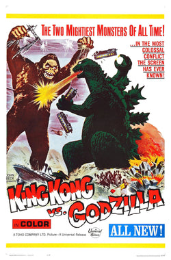 King Kong Vs Godzilla - 50s B-Movie Classic - A4 Vintage Print B