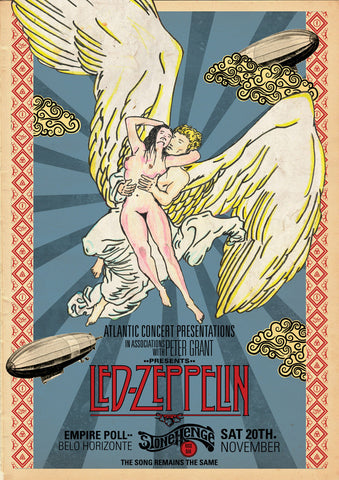 Led Zeppelin  - Stonehenge Rock Bar - A4 Music Mini Print