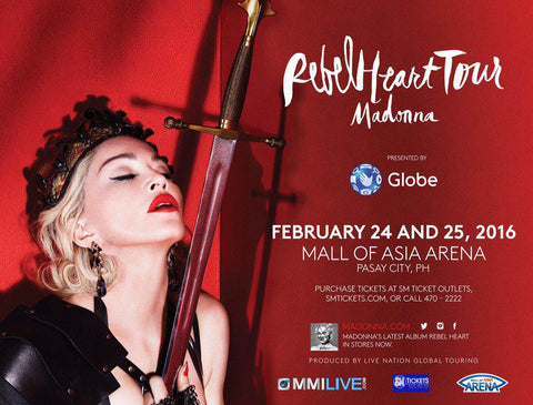Madonna - Rebel Heart Tour - Pasay City - Philippines 2016 - A4 Music Mini Print