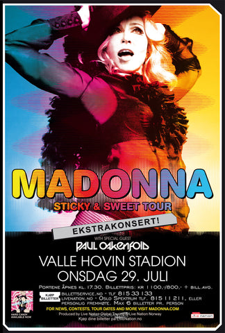 Madonna - Sweet & Sticky Tour - Oslo - A4 Music Mini Print