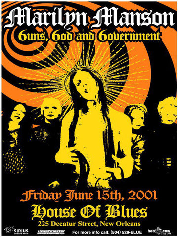 Marilyn Manson - Guns, God and Government - House of Blues 2001 - A4 Music Mini Print