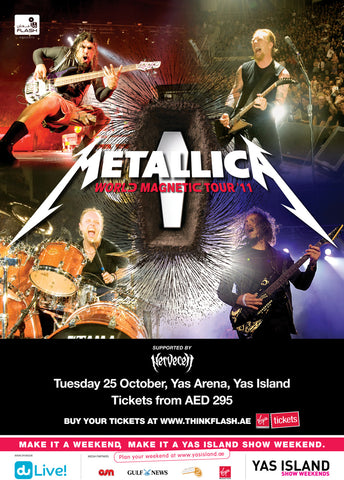 Metallica - World Magnetic Tour 2011 - Yas Arena - A4 Music Mini Print