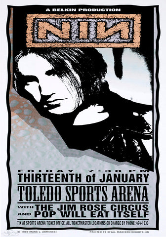 NIN - Nine Inch Nails - Toledo Sports Arena - A4 Music Mini Print