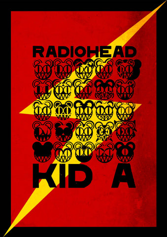 Radiohead - Kid A Red - A4 Music Mini Print