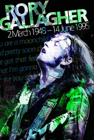 Rory Gallagher - 1948 - 1995 - A4 Music Mini Print