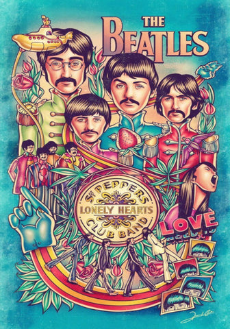 The Beatles - Pepper Blue - A4 Music Mini Print