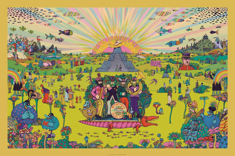 The Beatles -  Yellow Submarine Panorama - A4 Music Mini Print