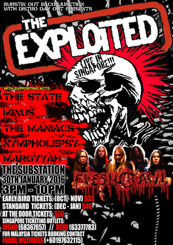 The Exploited - The Substation 2016 - A4 Music Mini Print