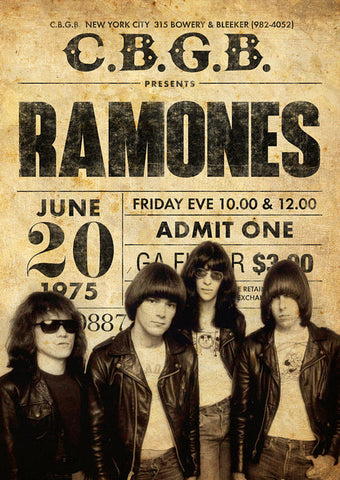 The Ramones - CGBG 1975 - A4 Music Mini Print