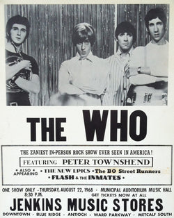 The Who - Municipal Auditorium Music Hall 1968 - A4 Music Mini Print