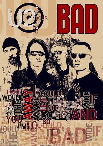 U2 - Bad - A4 Music Mini Print