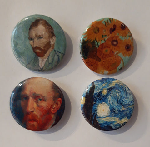 Vincent Van Gogh - Set of 4 Badges
