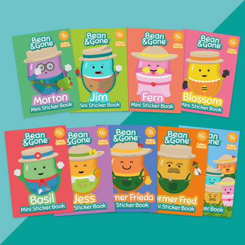 Limited Edition Bean&Gone Mini Sticker Book (9 Books - Complete Set)