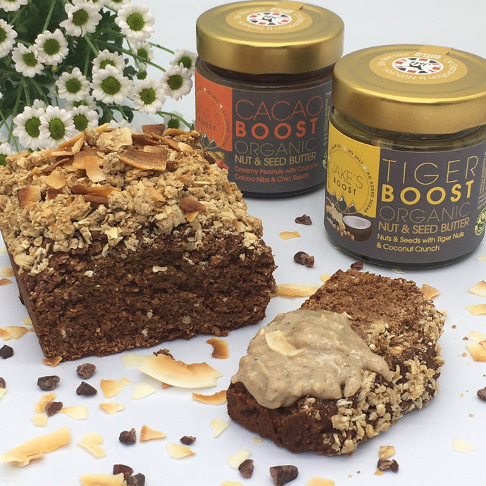 Vegan Cacao Boost Pancake Bread with Tiger Boost and Oat Crumble Topping