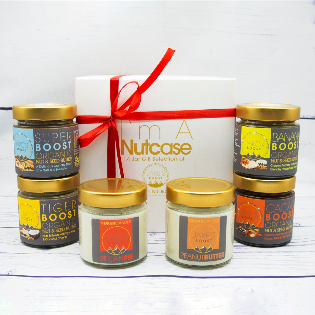 GIFT BOX-Build Your Own: 2 Jars & 1 Candle AND ONLY FOR CHRISTMAS: GET A JAR 0F 175g JAKE'S BOOST PURE HAZELNUT BUTTER FOR FREE