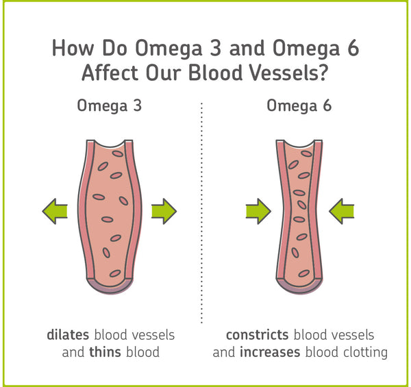 impact of omega 3 and omega 6 on blood vessels