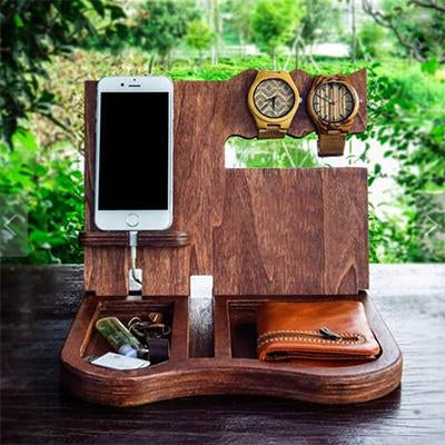 Eco-Friendly Wooden Docking Station Organizer