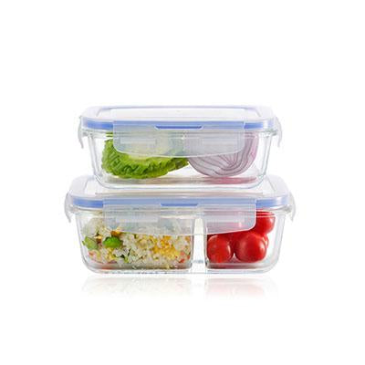Microwavable Glass Lunch Box with 2 Compartment
