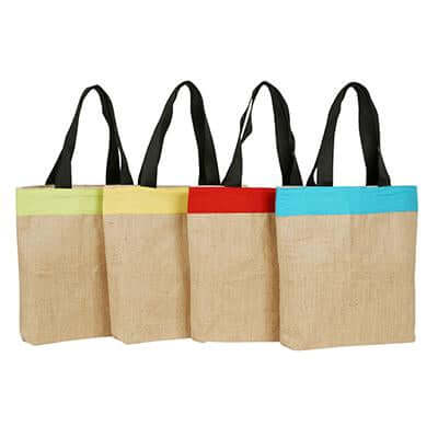 Eco Friendly Jute and Coloured Canvas Tote Bag - abrandz