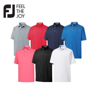 Footjoy Lisle Solid Gingham Trim Polo T-Shirt