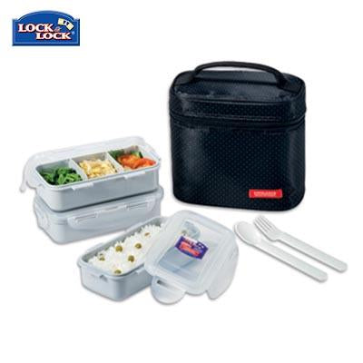 Lock & Lock 3-tier BPA Free Lunch Box with Cutlery | Executive Door Gifts