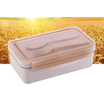 Eco Friendly Wheat Straw Lunch Box with Cutlery