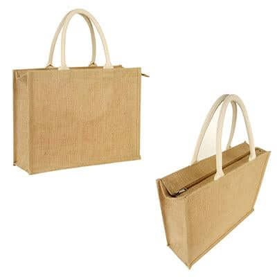 Eco Friendly Jute Tote Bag with Zip | Executive Door Gifts