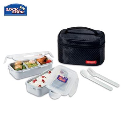 Lock & Lock 2-tier BPA Free Lunch Box with Cutlery | Executive Corporate Gifts Singapore