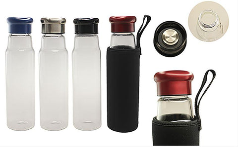 Glass Bottle With Black Neoprene Pouch | Executive Corporate Gifts Singapore