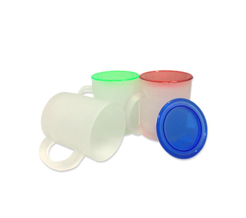 Frosted Glass Mug with Coloured Lid | Executive Corporate Gifts Singapore