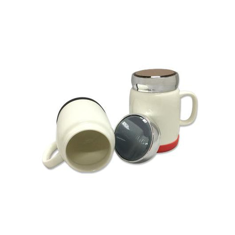 Porcelain Mug with Silver Lid & Silicon Base | Executive Corporate Gifts Singapore