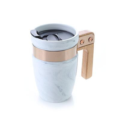 Marble Ceramic Mug with SS Rim and Wooden Handle | Executive Corporate Gifts Singapore