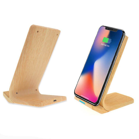 10W Wood Wireless Charger with Phone Stand | Executive Corporate Gifts Singapore