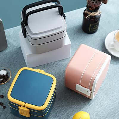 BPA-Free Square Double Layer Lunch Box with Spoon | Executive Door Gifts