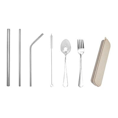 6 Pieces Stainless Steel Cutlery and Straw Set
