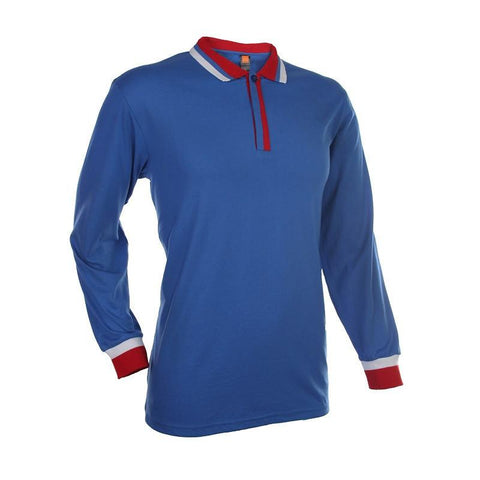 Basic Jersey Contrasting Long Sleeve Polo T-shirt - abrandz