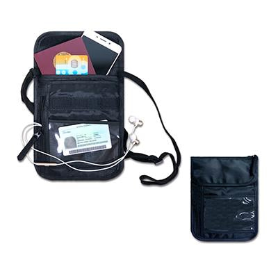 Black Nylon Travel Neck Pouch with 4 slot & 2 zip compartments | Executive Corporate Gifts Singapore