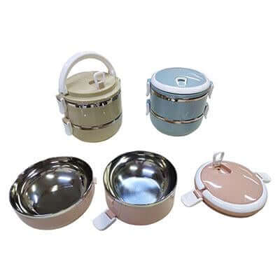 2-Tier Stainless Steel Lunch Box (Gloss finishing) | Executive Corporate Gifts Singapore