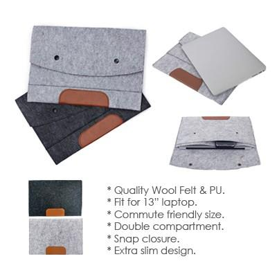 13'' Felt and PU Leather Ipad Tablet Sleeve | Executive Corporate Gifts Singapore