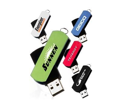 Aluminium and Rubber Coated Swivel USB Flash Drive | Executive Corporate Gifts Singapore