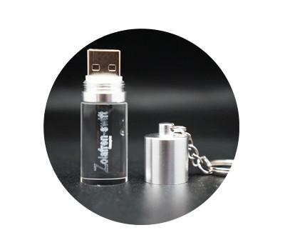 Cylinder Crystal USB Drive with Key Chain | Executive Door Gifts